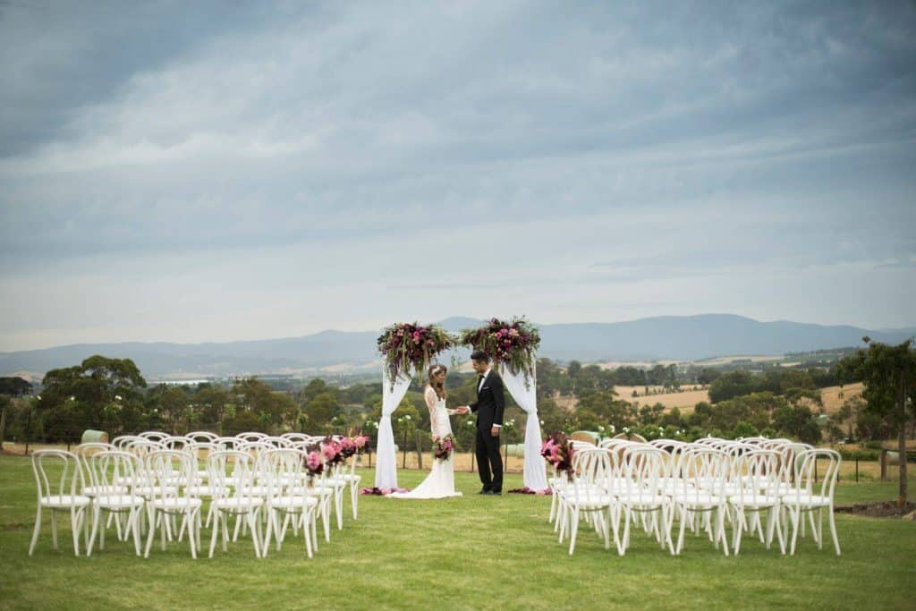 couple getting marries at vines yarra valley