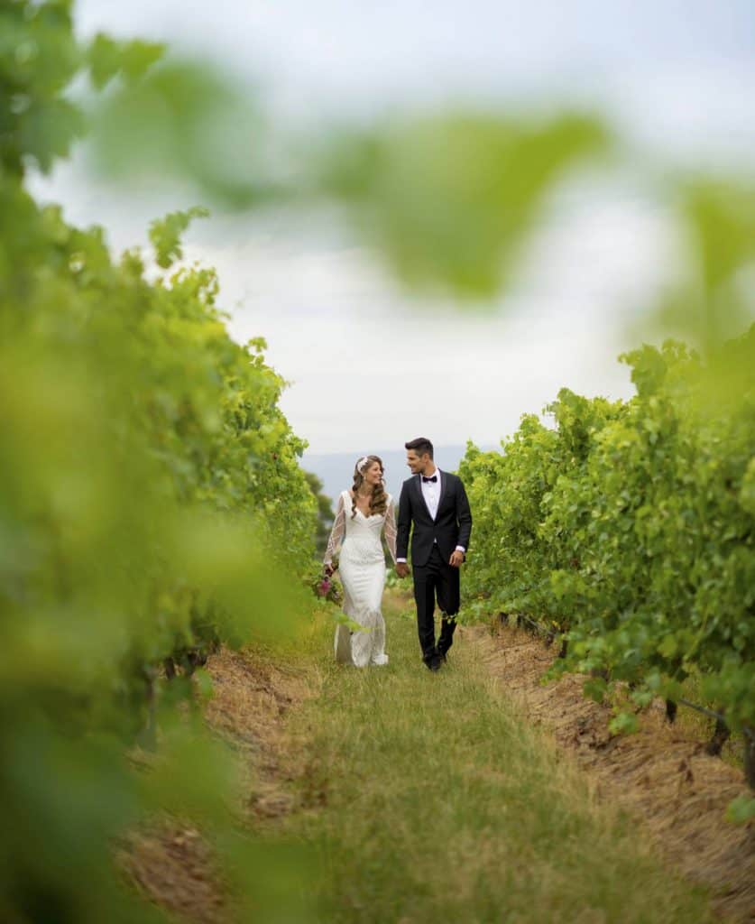 couple walking through vinyard at wedding