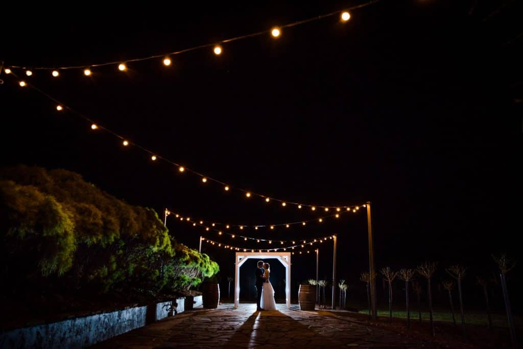 bride and groom at night with lights yarra valley wedding