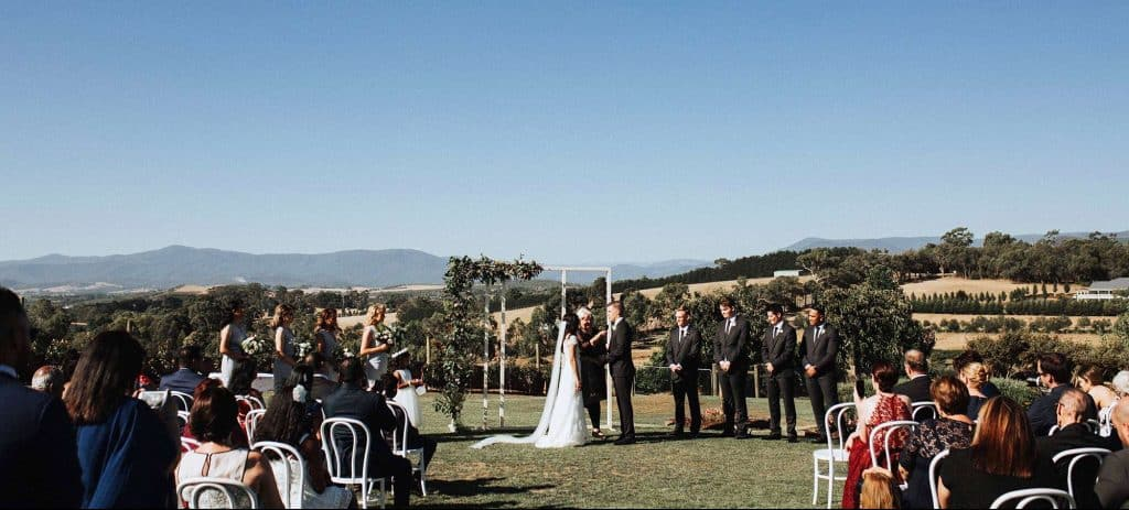 outdoor wedding reception in yarra valley