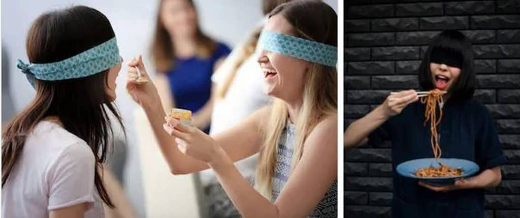 Blindfolded Dinner hens party ideas