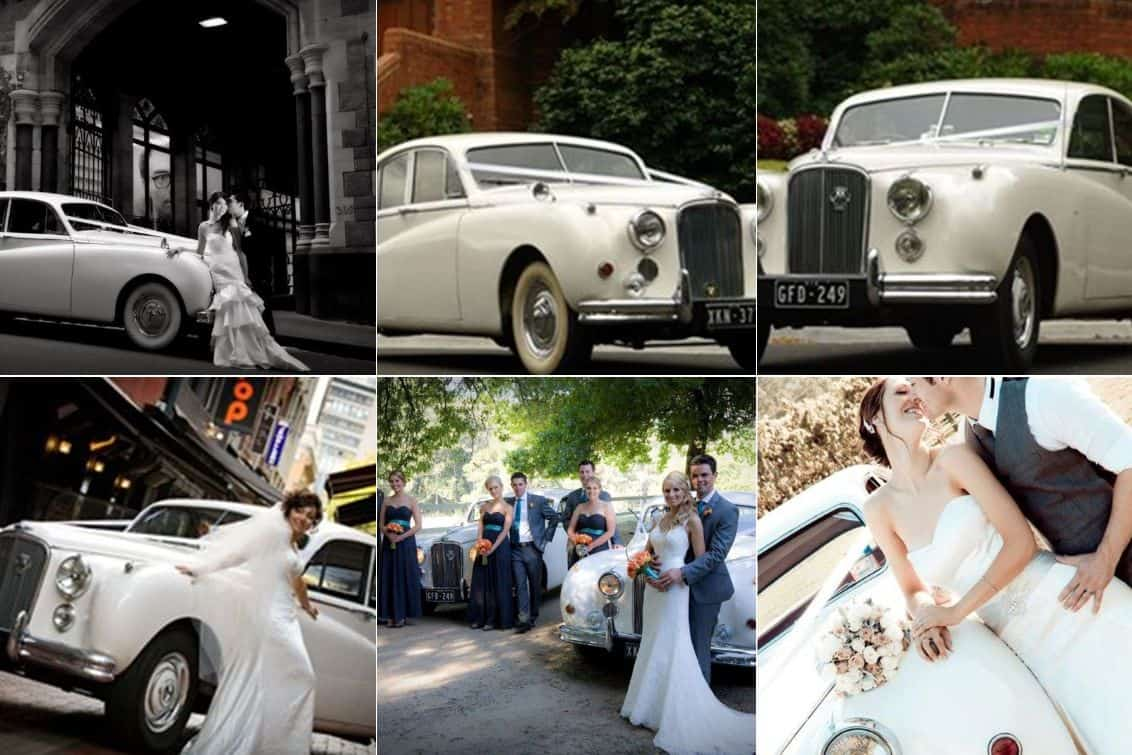 White Classic Jags wedding hire