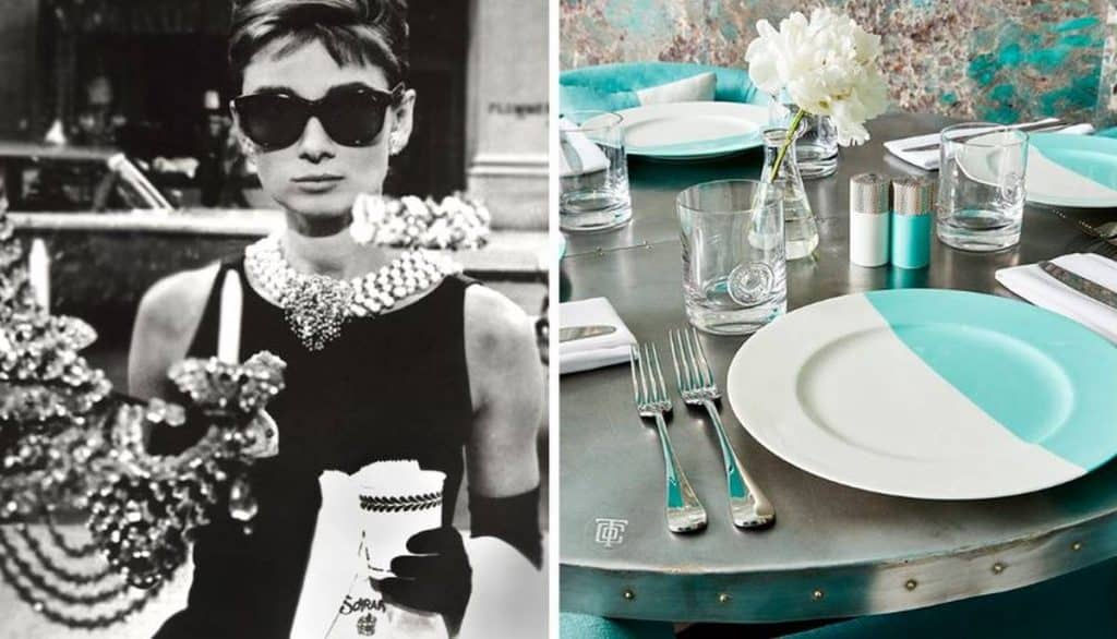 audrey hepburn and teal and white plate