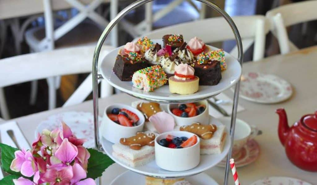 high tea with cakes platter