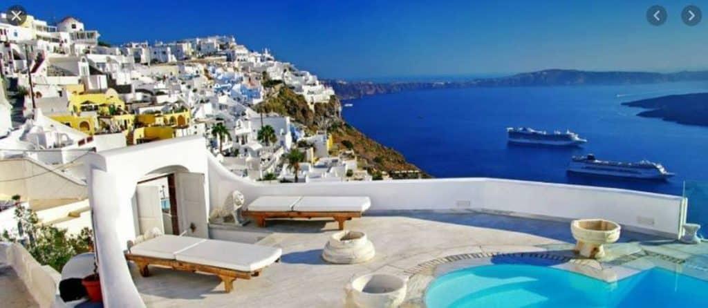greek island white buildings