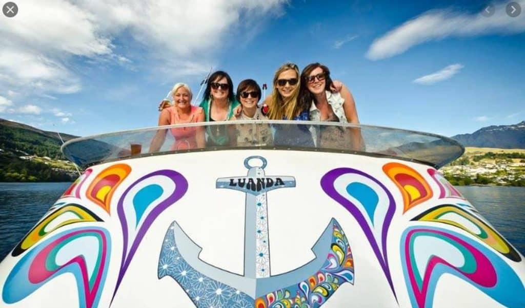 girls on boat in queenstown