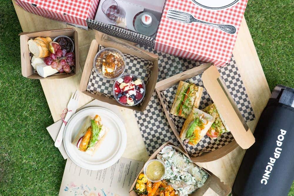 boxes of food with picnic