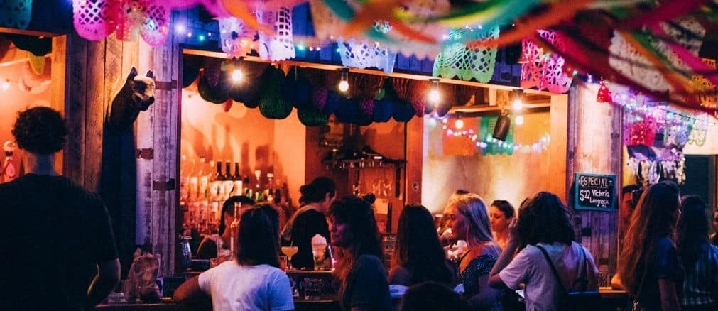colourful bar with people