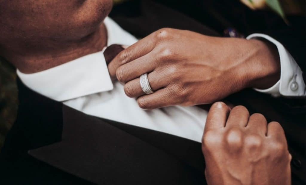 Man in suit wedding ring