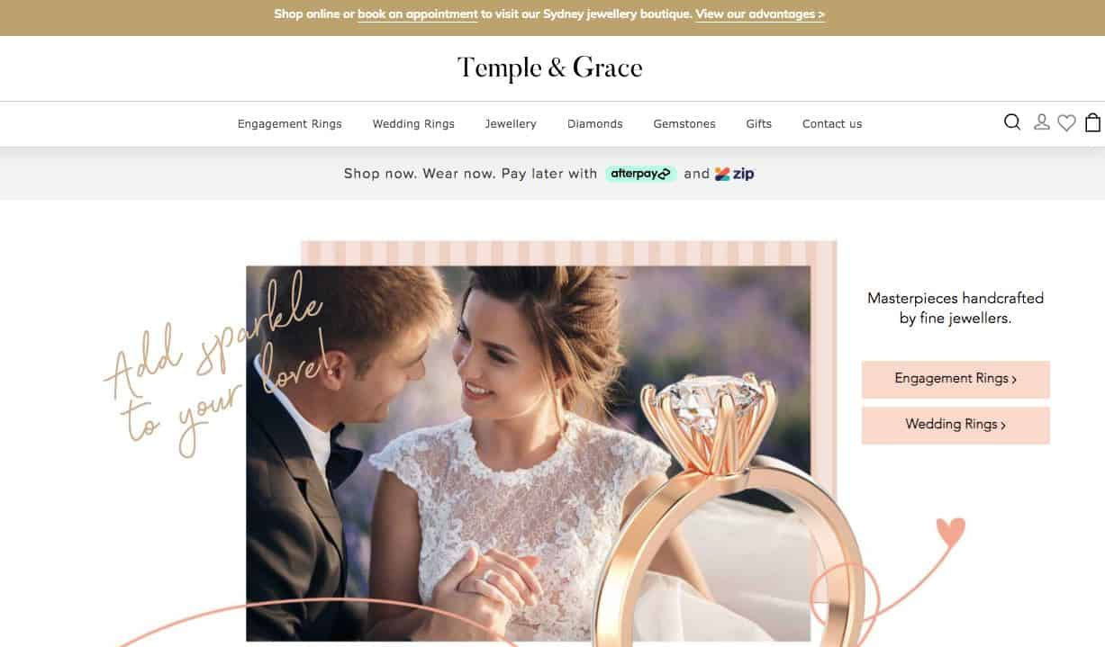 Temple And Grace Wedding Jewellery Store Melbourne