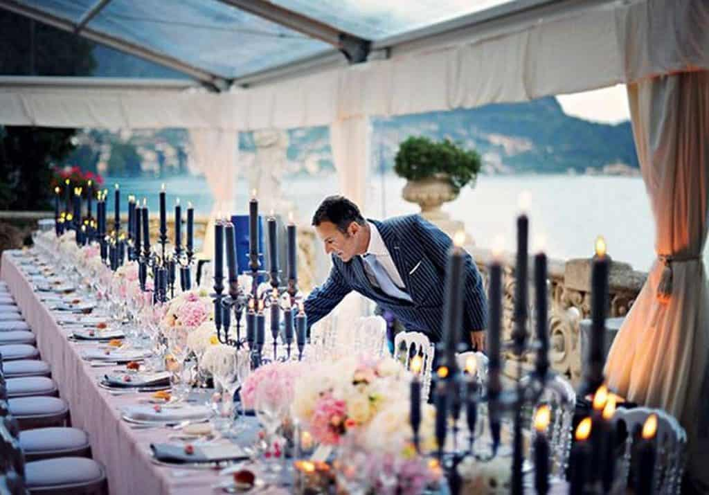 wedding planner setting bridal table