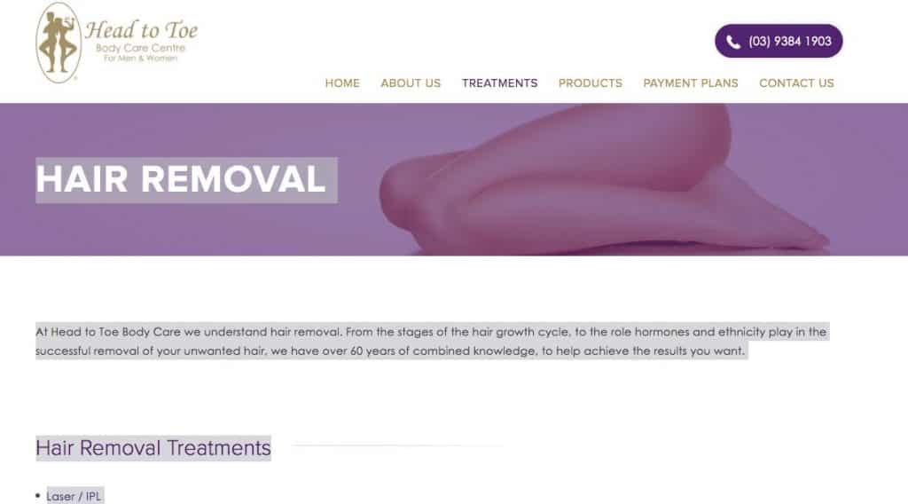 Head To Toe Laser Hair Removal Clinic Melbourne